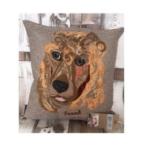 Pet Portrait commission cushion- with name