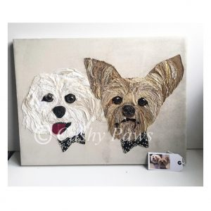 Two Pet Portrait canvas with names- Personalised