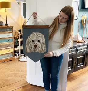 Pet Portrait Wall Hanging with name
