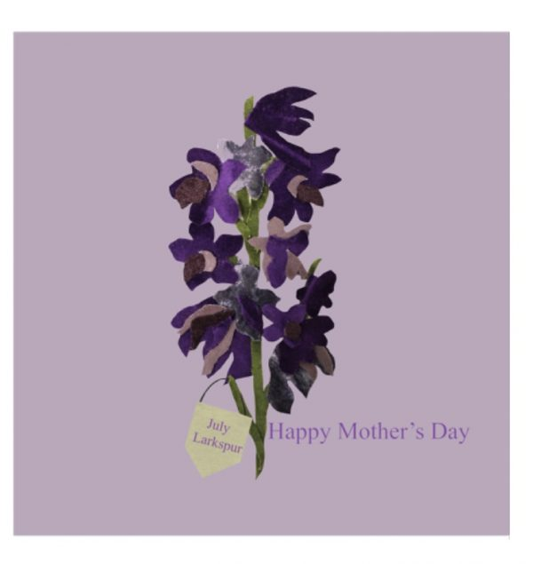 July larkspur Mother's Day greetings card