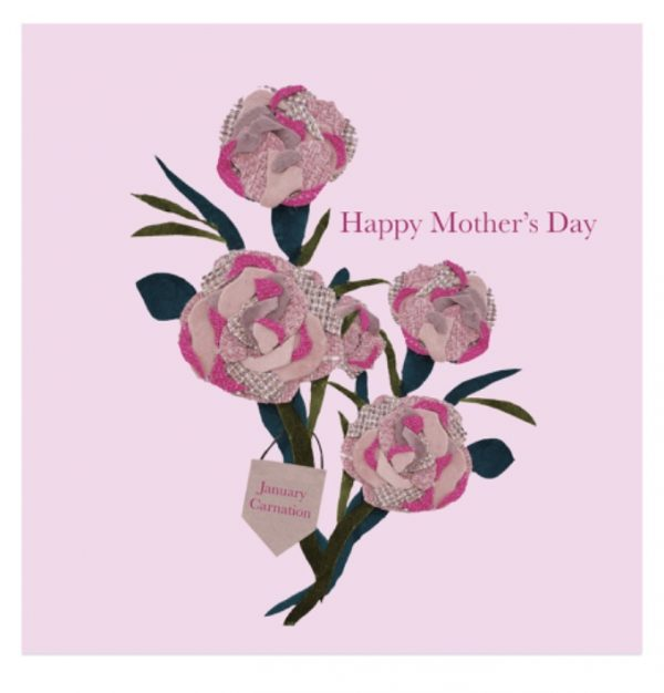 January Carnation Mother's Day greetings card