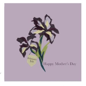 February Iris Mother's Day greetings card