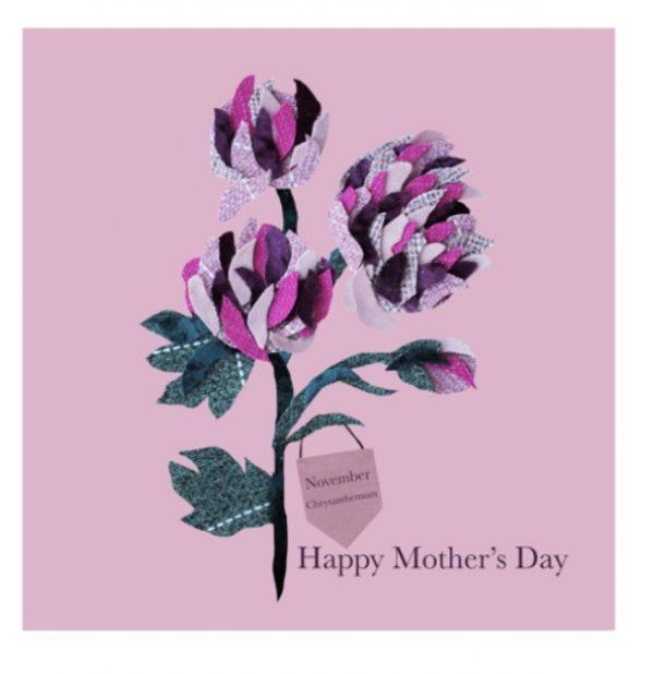 November Chrysanthemum Mother's Day greetings card