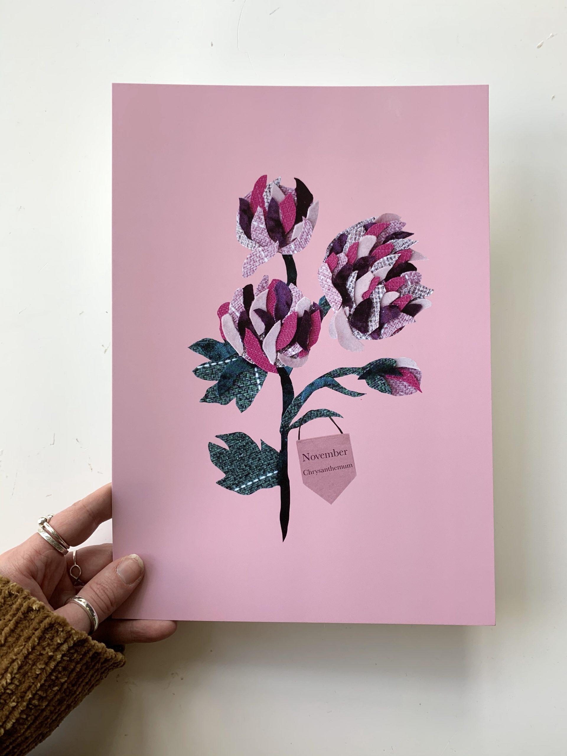 Floral birth month flower print for November- Chrysanthemum