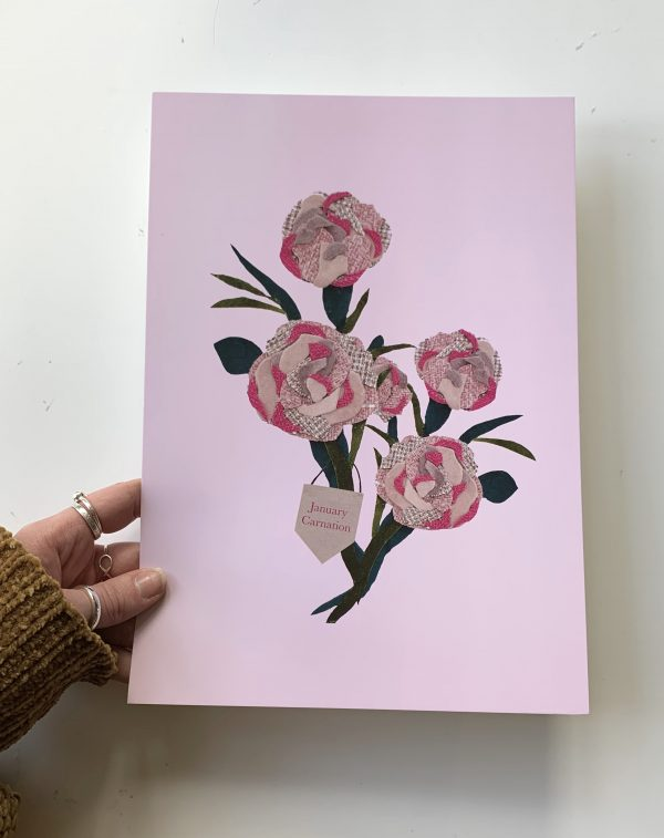 Floral birth month flower print for January- Carnation