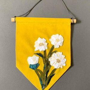 Original Textiles Floral Wall Hanging (Daisy- Yellow)