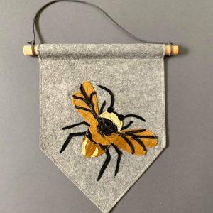 Original Insect Wall Hanging- Bee- Grey