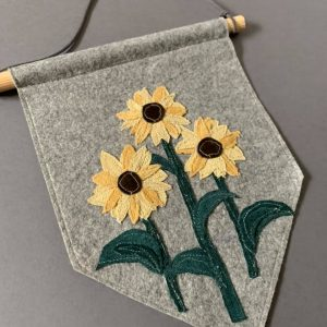 Original Floral Wall Hanging- Sunflower- Yellow