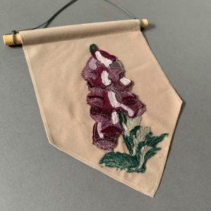 Original Floral Wall Hanging- Foxgloves- Purple