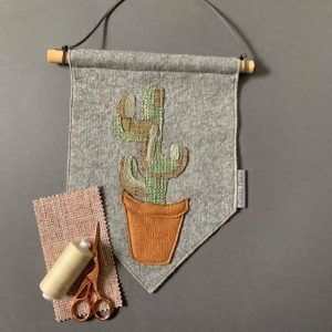 Original Floral Wall Hanging- Cactus- Green & Grey