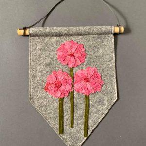Original Textiles Floral Wall Hanging- Pink Gerbara