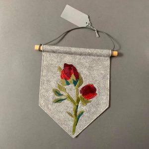 Original Textiles Floral Wall Hanging- Red Rose