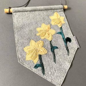 Original Textiles Floral Wall Hanging- Yellow Daffodil