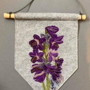 Original Textiles Floral Wall Hanging- Purple Larkspur