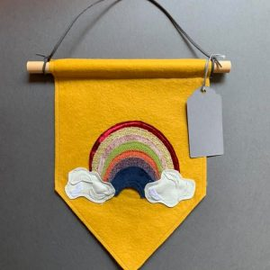 Original Rainbow Wall Hanging- Multi Coloured Rainbow on mustard