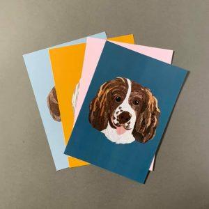 Spaniel A4 Print - Navy- Cushy Paws Print Collection