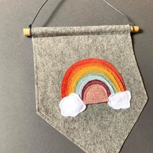 Original Rainbow Wall Hanging- Multi Rainbow on grey