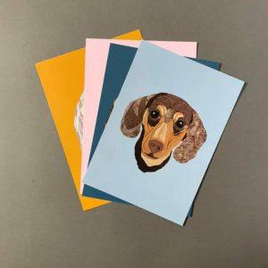 Dachshund A4 Print - Blue- Cushy Paws Print Collection