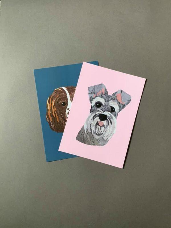 Schnauzer A4 Print - Pink