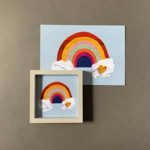 Multi Coloured Rainbow Greetings Card- in small frame
