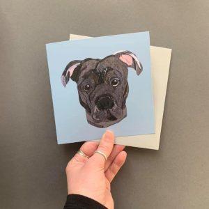 Staffy Greetings card