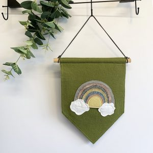 Original Rainbow Wall Hanging- Green Felt with pastel Rainbow 2