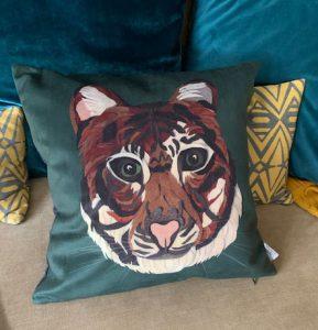 Printed Tiger Cushion (Vegan Suede)