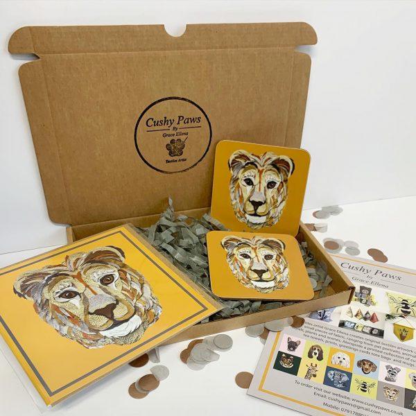 Lion Coaster Set- Cushy Paws
