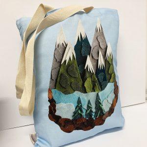 Mountain Range Tote Bags