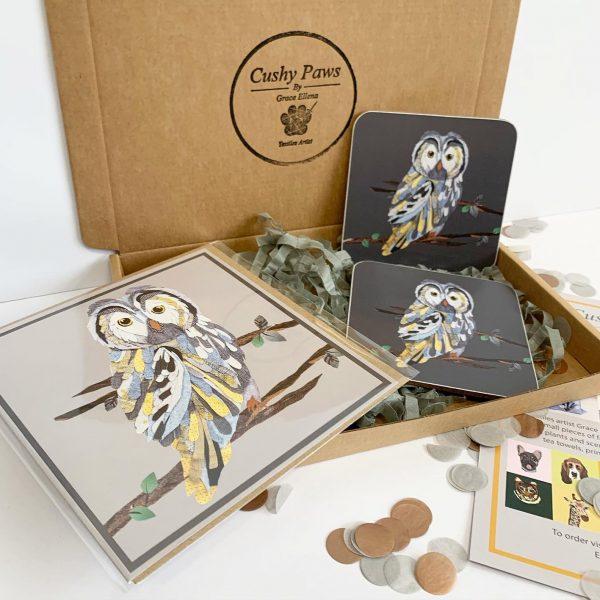 Owl Coaster Set- Cushy Paws
