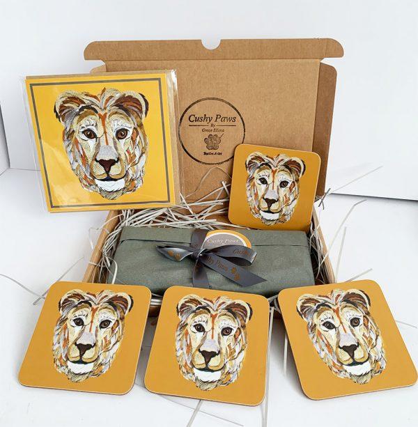 Set of Lion Coasters