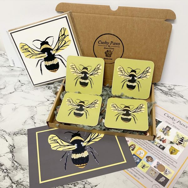 Set of two Bee coasters