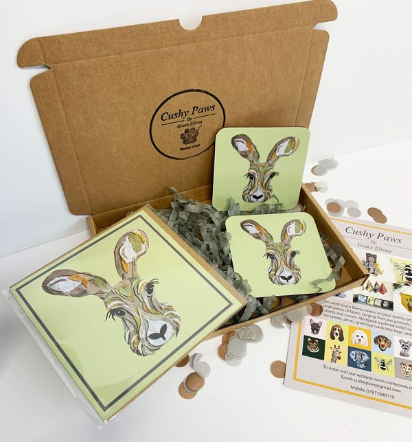 Set of two hare coasters jpg