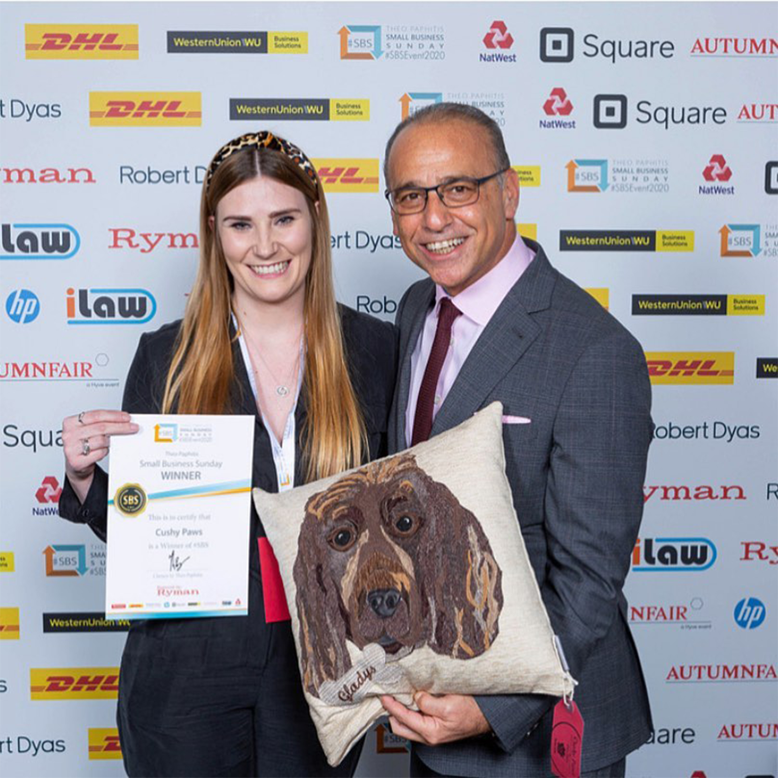 Theo Paphitis with Cushy Paws pet Portrait Cushion