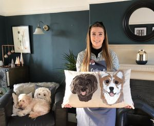 Pet Portrait Cushion- Two Pets