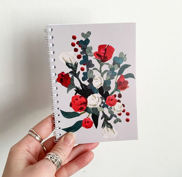 A6 Red Rose Notebook- Cushy Paws