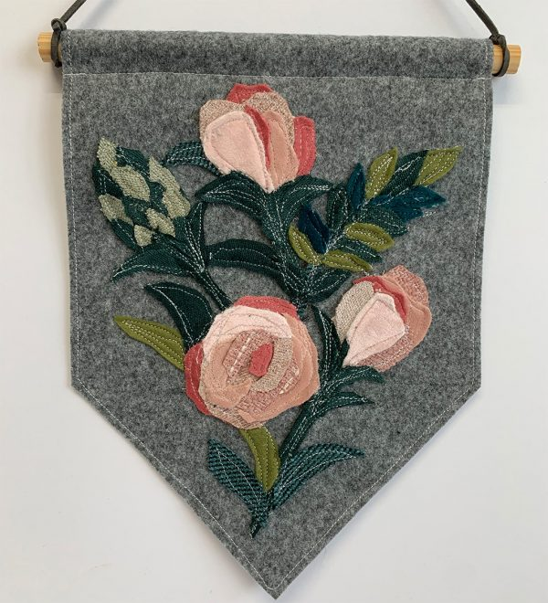 Pink Roses and foilage wall hanging- Cushy Paws