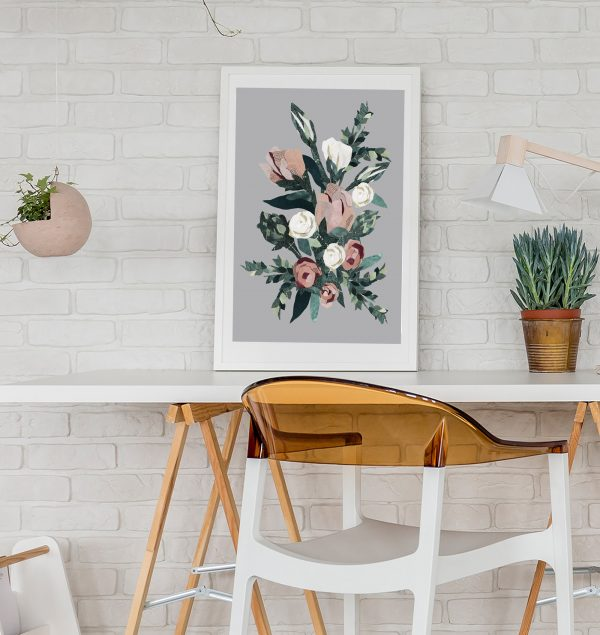 Pink Roses print in Office