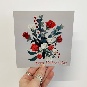 Red Rose Mothers Day Card - cushy paws