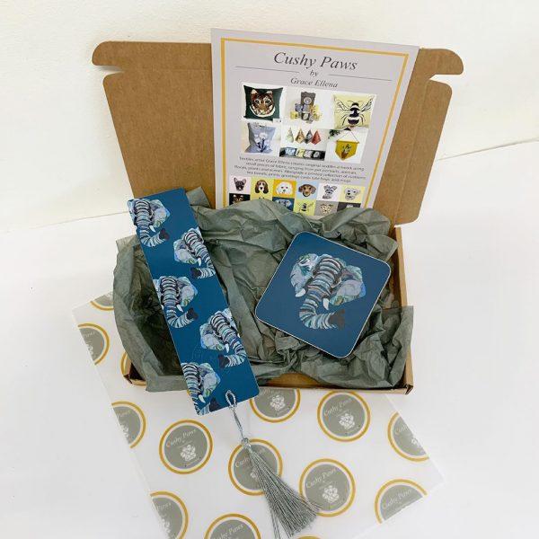 Elephant Bookmark and Coaster Gift set